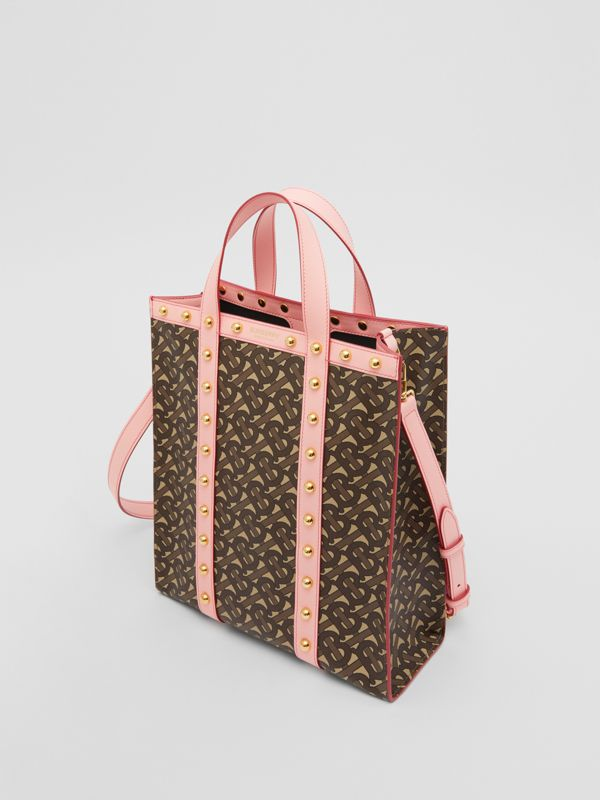Small Monogram Print E-canvas Portrait Tote Bag in Cloud Pink - Women   Burberry United Kingdom - cell image 2