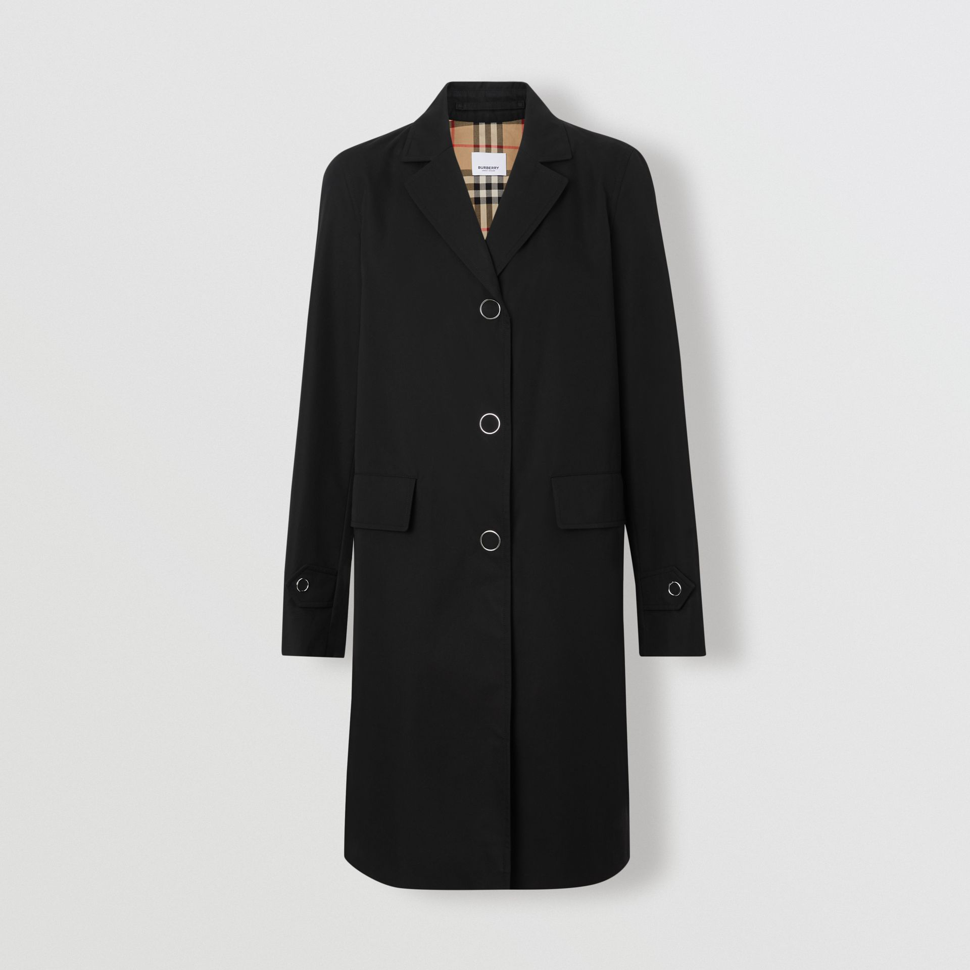 Press-stud Detail Cotton Gabardine Car Coat in Black - Women | Burberry - gallery image 3