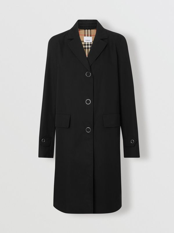 Press-stud Detail Cotton Gabardine Car Coat in Black - Women | Burberry - cell image 3