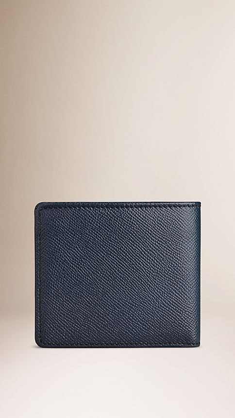 Navy London Leather Folding Wallet - Image 2