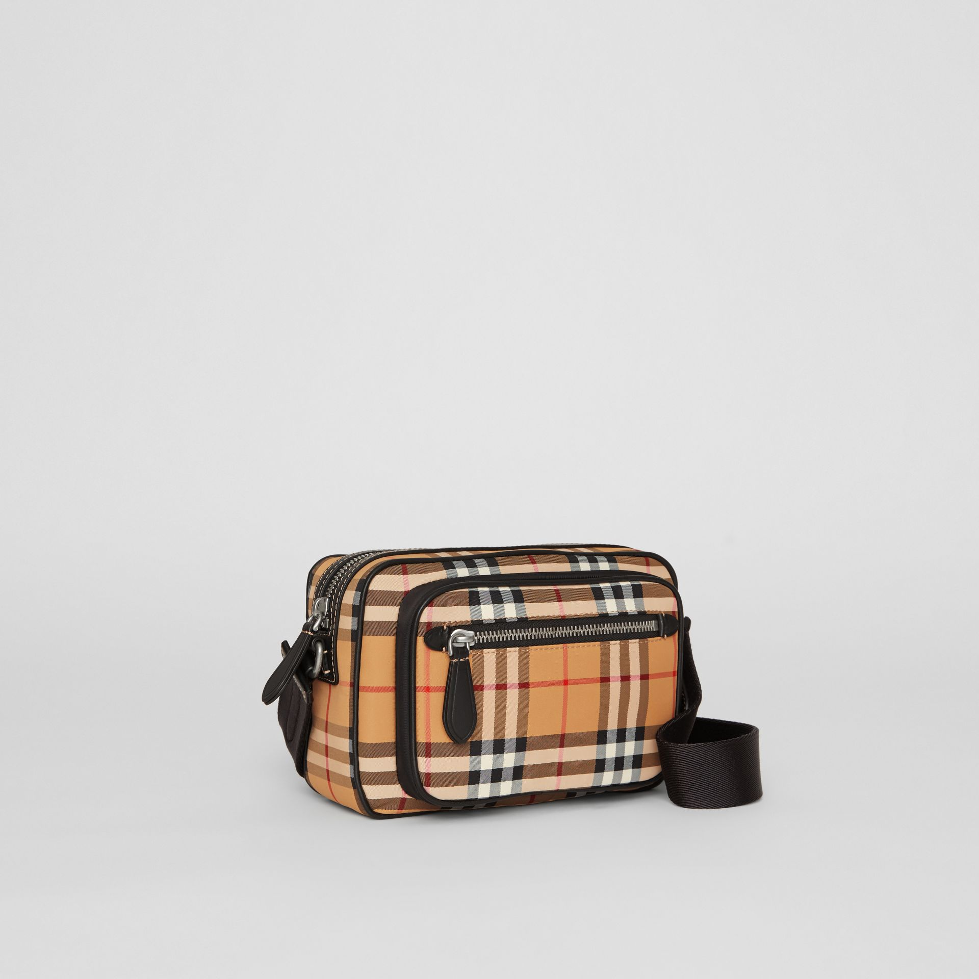 Vintage Check and Leather Crossbody Bag in Antique Yellow - Men | Burberry Singapore - gallery image 6