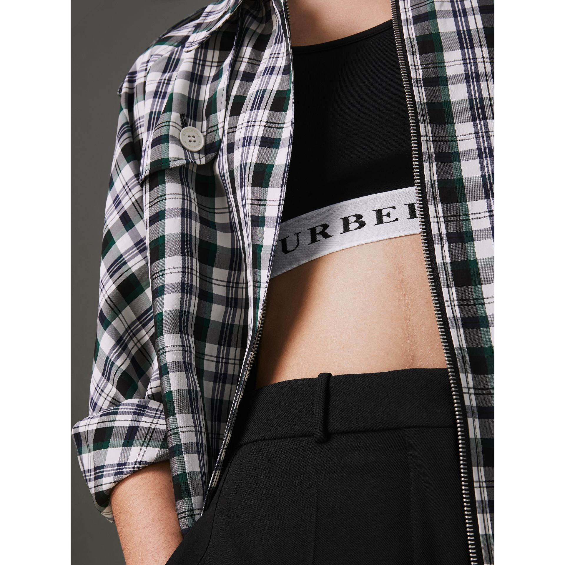 Logo Stretch Jersey Bra Top in Black - Women | Burberry Hong Kong - gallery image 1
