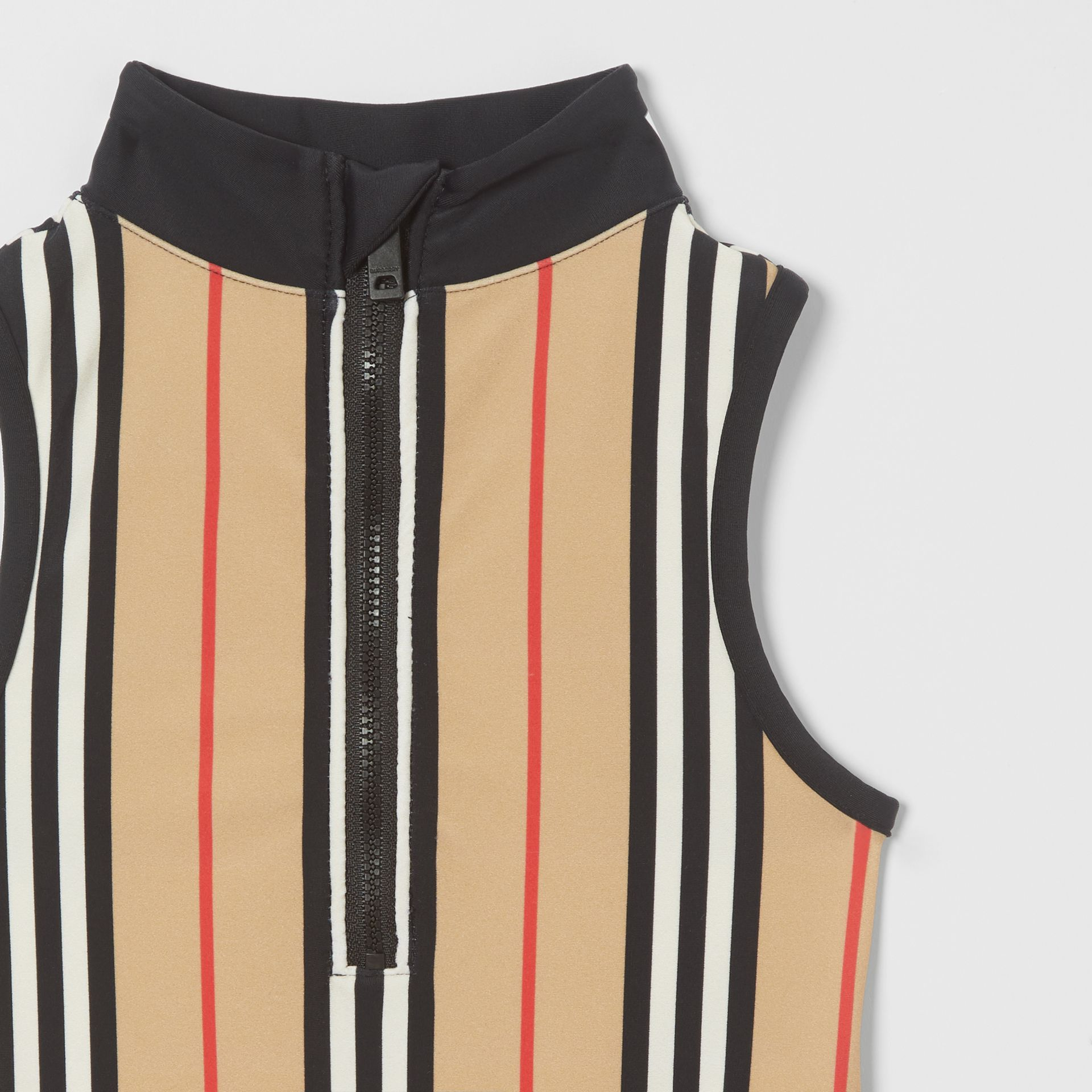 Icon Stripe Zip-front Swimsuit in Archive Beige | Burberry Australia - gallery image 3