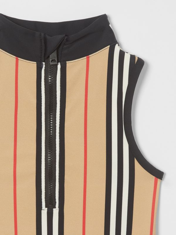 Icon Stripe Zip-front Swimsuit in Archive Beige | Burberry - cell image 3