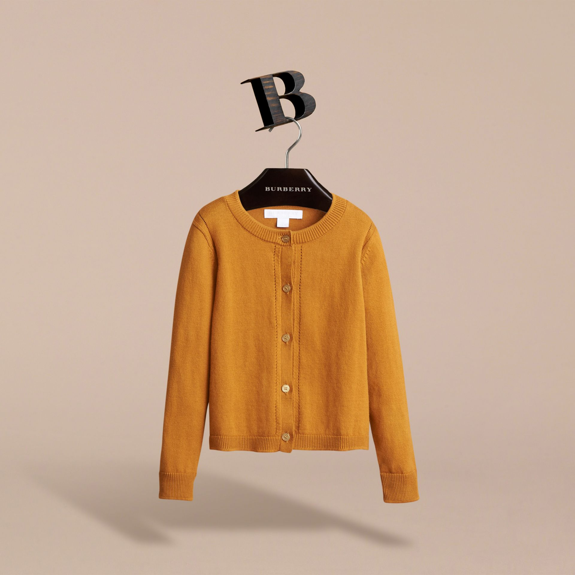Check Cuff Cotton Knit Cardigan in Ochre Yellow - Girl | Burberry - gallery image 3
