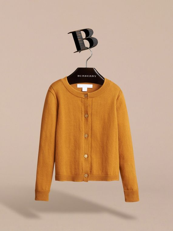 Check Cuff Cotton Knit Cardigan in Ochre Yellow - Girl | Burberry - cell image 2