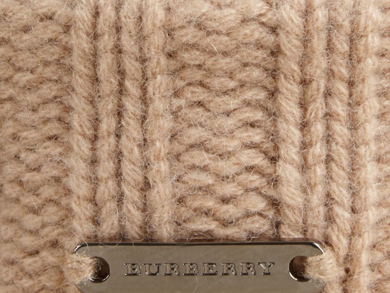 Fur Pom-Pom Wool Cashmere Beanie in Camel - Women | Burberry Canada - cell image 1