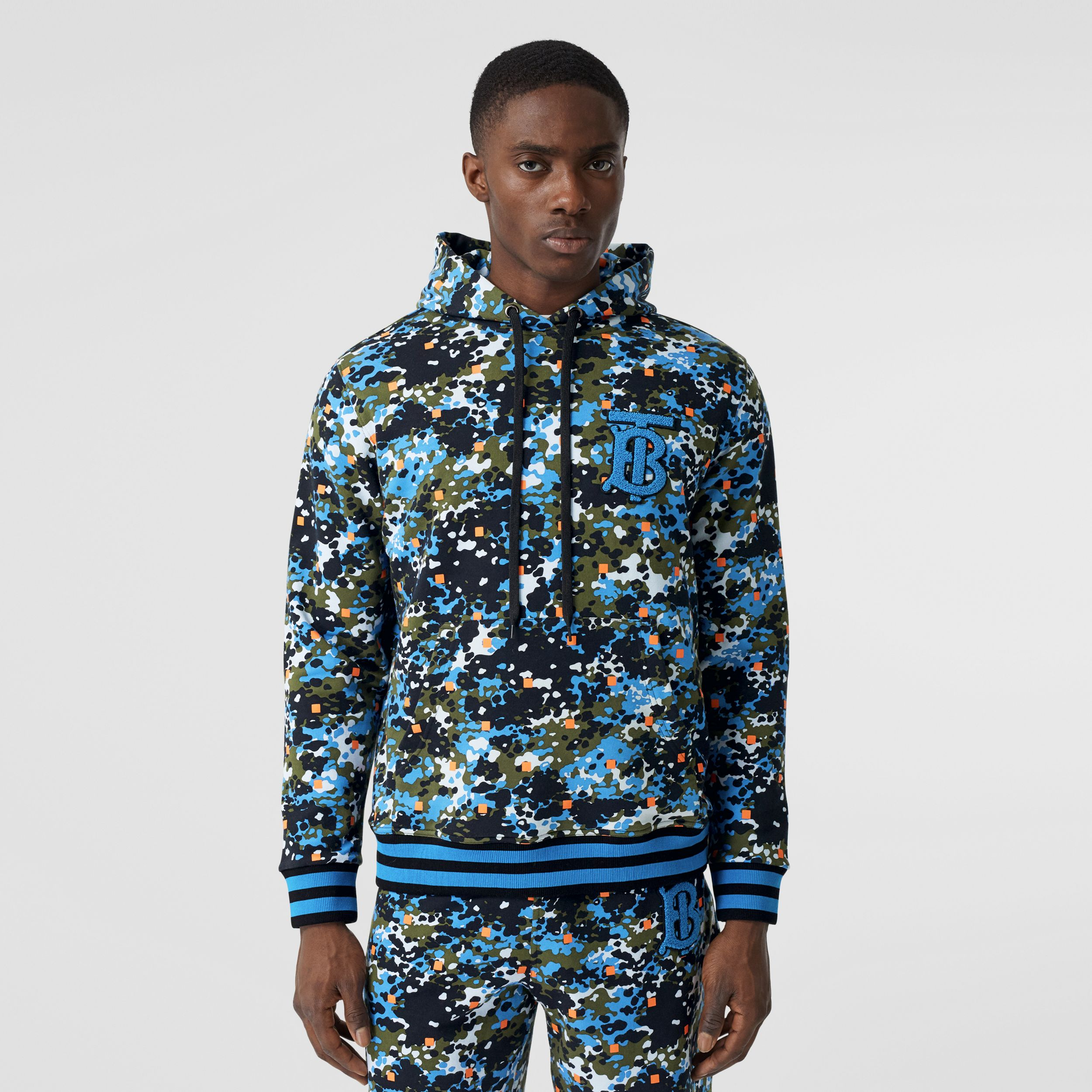 Monogram Motif Camouflage Print Cotton Hoodie in Caper Green - Men | Burberry - 1