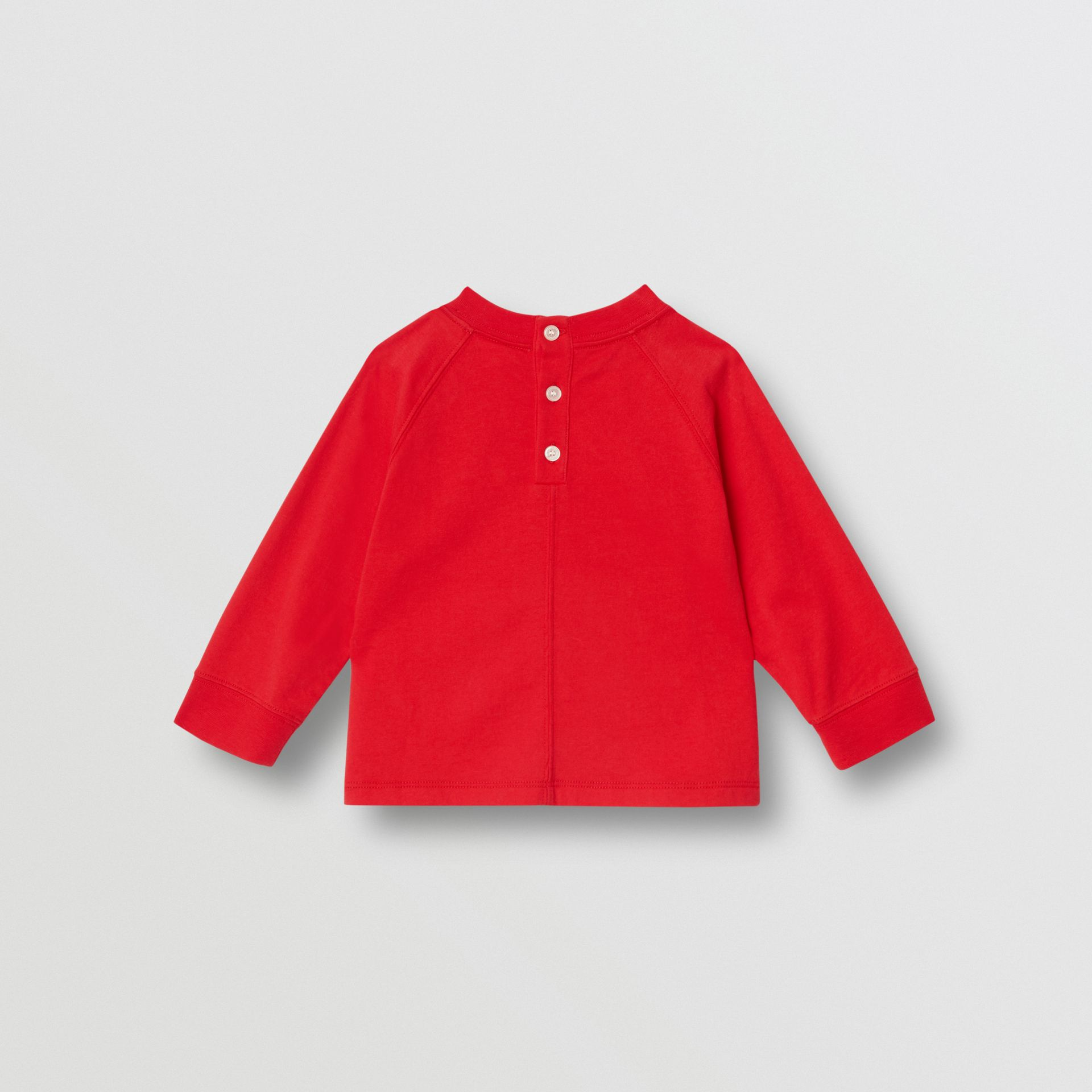 Long-sleeve Horseferry Print Cotton Top in Bright Red - Children | Burberry - gallery image 4