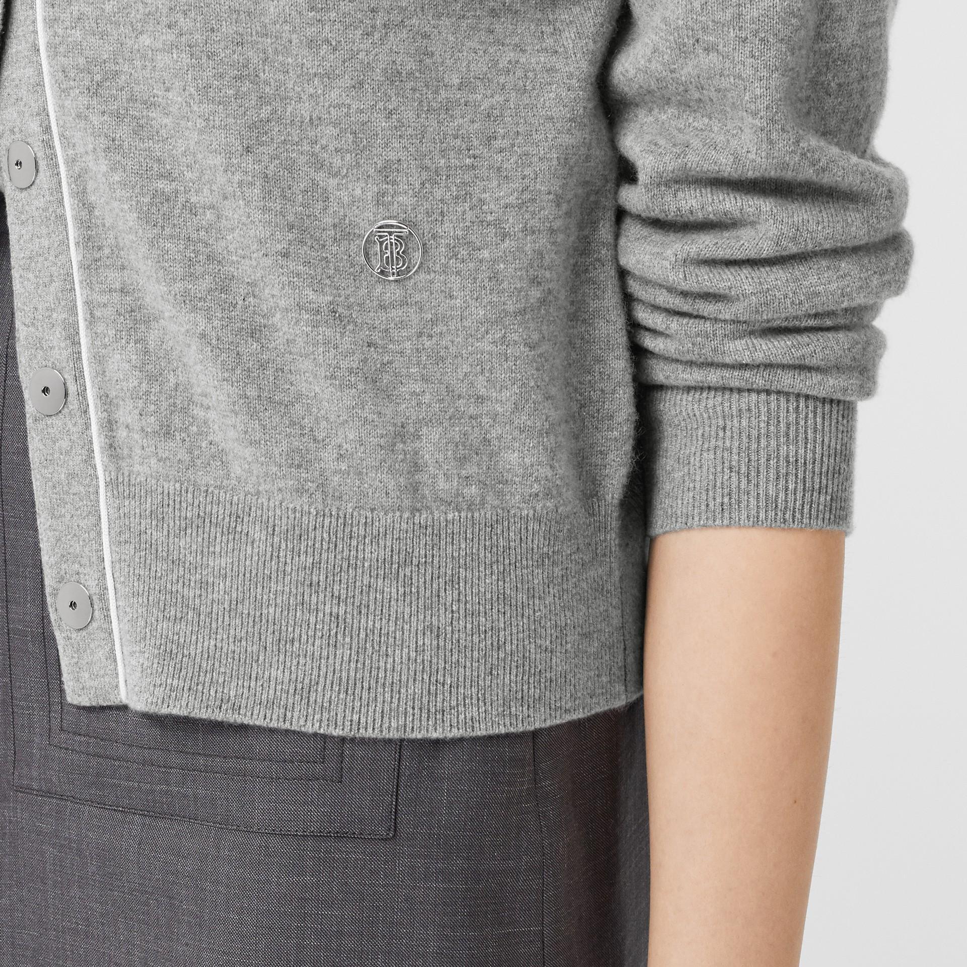 Silk Trim Monogram Motif Cashmere Cardigan in Grey Melange - Women   Burberry - gallery image 4