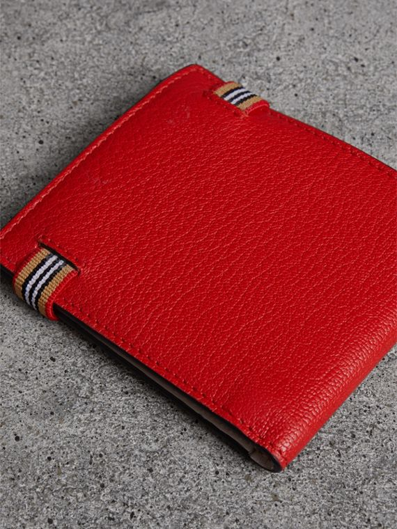 Heritage Stripe Leather International Bifold Wallet in Bright Red - Men | Burberry - cell image 2