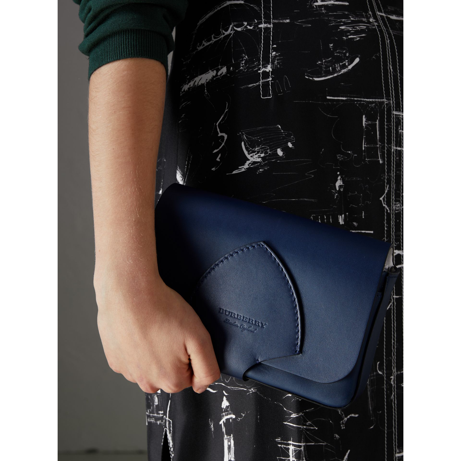Equestrian Shield Leather Wallet with Detachable Strap in Mid Indigo - Women | Burberry Singapore - gallery image 3
