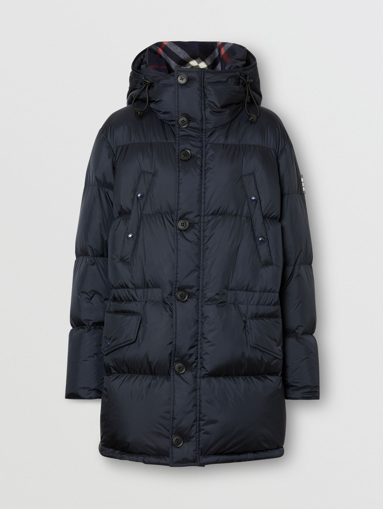Logo Detail Hooded Puffer Coat in Navy