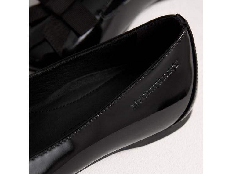 Bow Detail Patent Leather Ballerinas in Black - Girl | Burberry - cell image 1