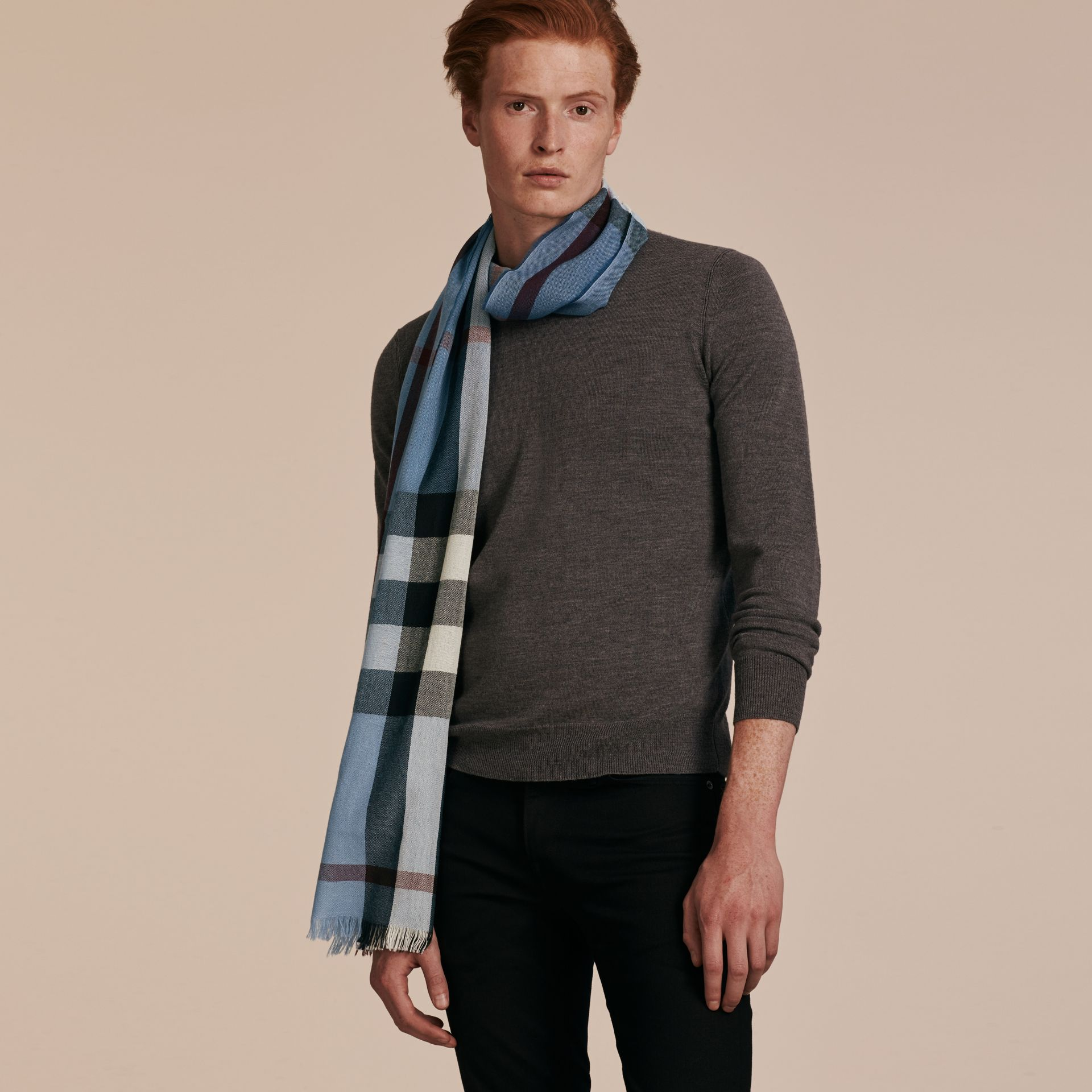 Lightweight Check Wool Cashmere Scarf Pale Sky Blue - gallery image 3