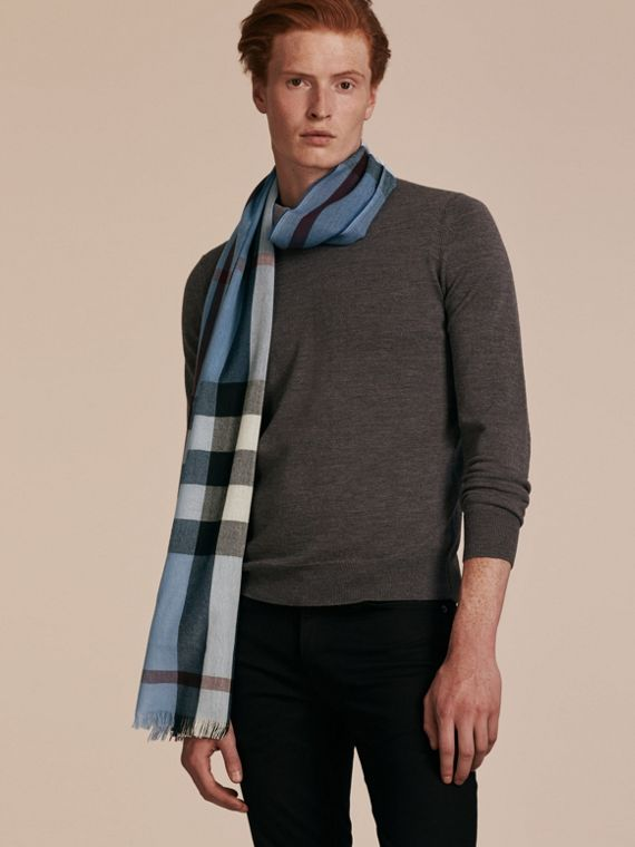 Lightweight Check Wool Cashmere Scarf Pale Sky Blue - cell image 2