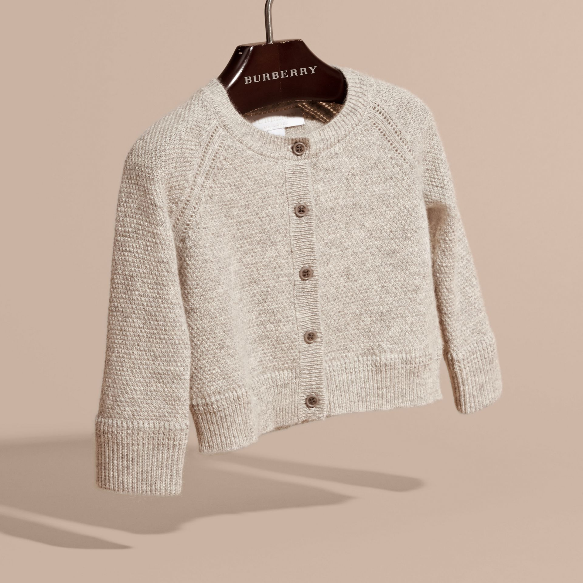 Textured Knit Cashmere Cardigan in Light Grey Melange | Burberry - gallery image 3