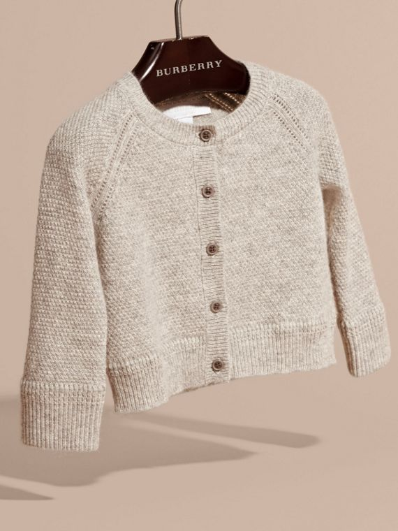 Textured Knit Cashmere Cardigan in Light Grey Melange | Burberry - cell image 2