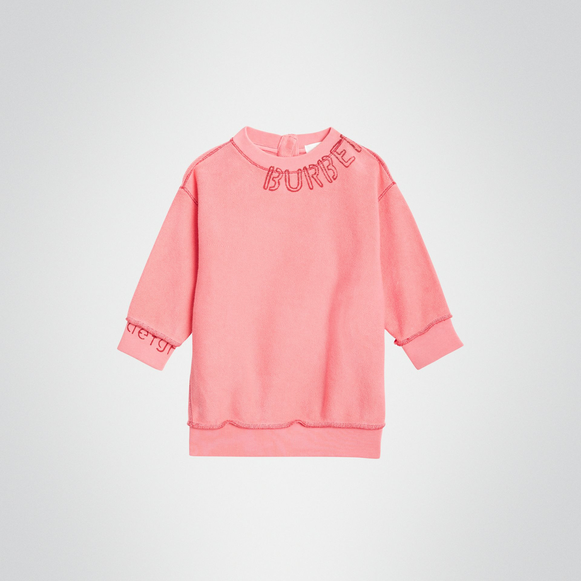 Stencil Logo Print Cotton Sweater Dress in Bright Pink - Children | Burberry - gallery image 0