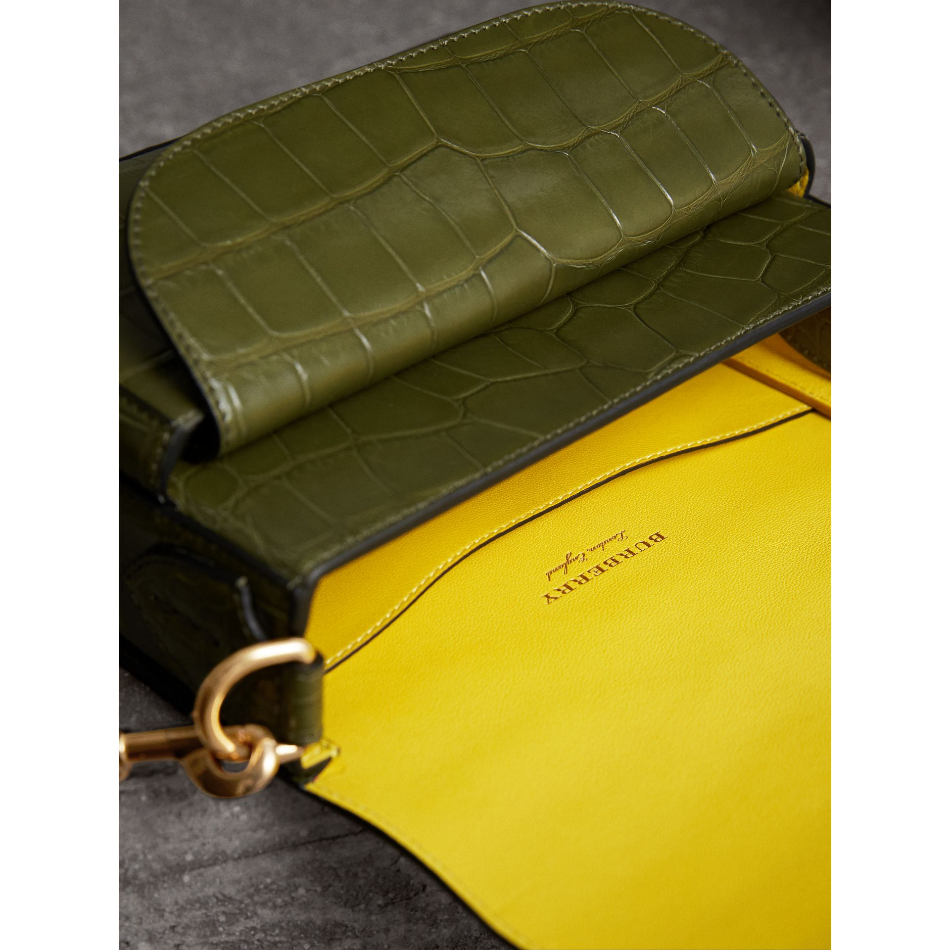 The Square Satchel in Alligator in Dark Antique Green - Women | Burberry Australia - gallery image 4