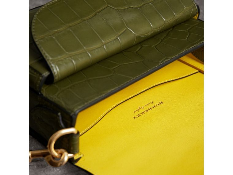 The Square Satchel in Alligator in Dark Antique Green - Women | Burberry Australia - cell image 4