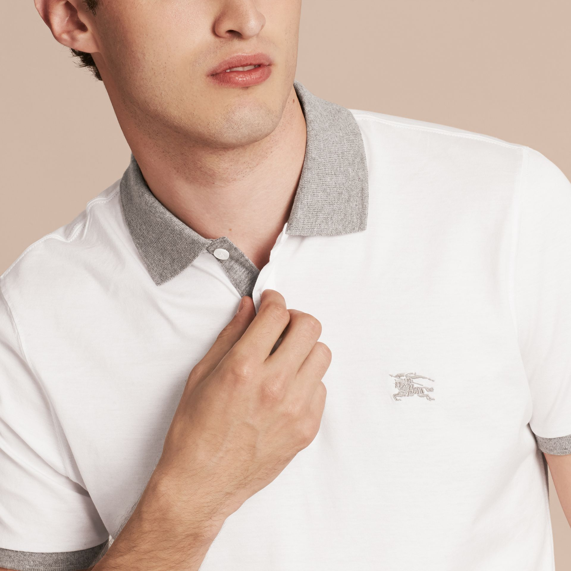 White Fitted Cotton Polo Shirt with Tonal Trim White - gallery image 5