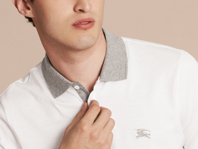 White Fitted Cotton Polo Shirt with Tonal Trim White - cell image 4