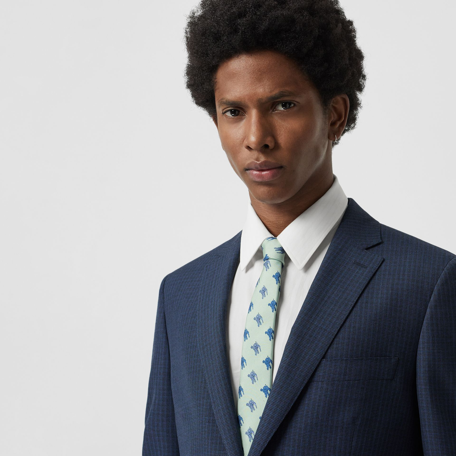 Slim Cut Equestrian Knight Print Silk Tie in Light Celadon - Men | Burberry - gallery image 2