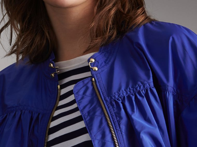 Ruched Showerproof Jacket in Sapphire Blue - Women | Burberry - cell image 4