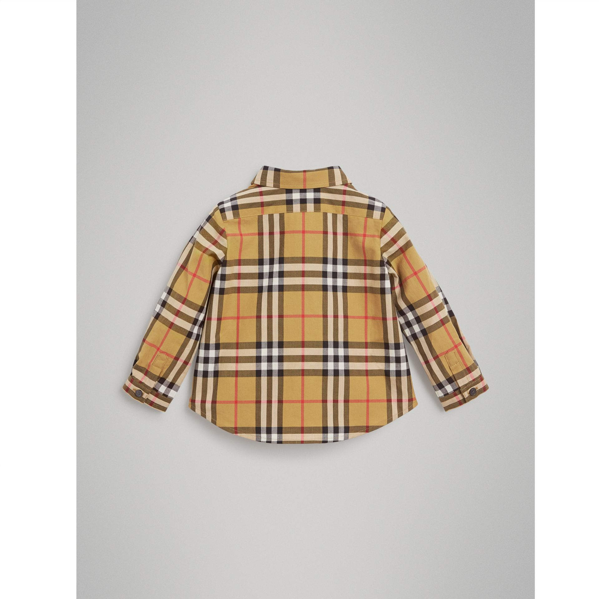 Button-down Collar Vintage Check Cotton Shirt in Antique Yellow - Children | Burberry United Kingdom - gallery image 3