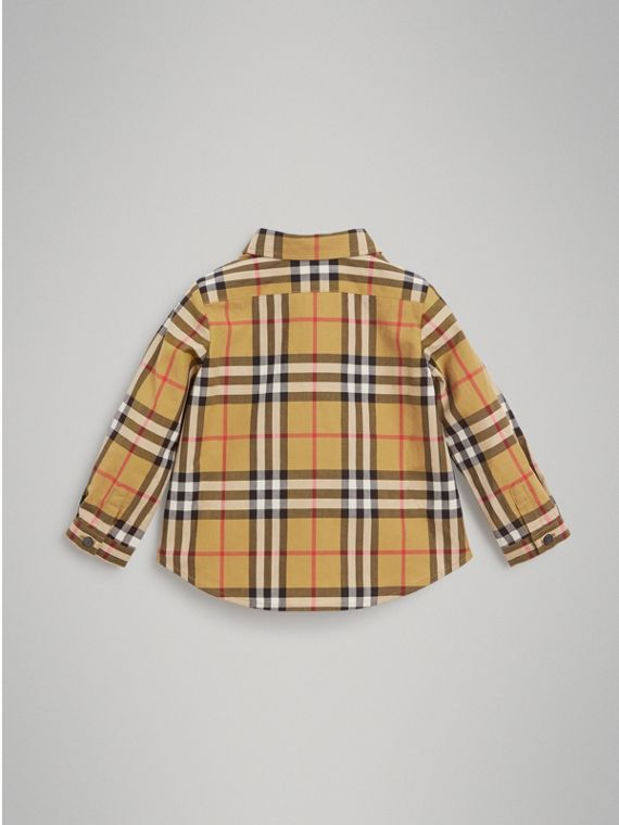 Button-down Collar Vintage Check Cotton Shirt in Antique Yellow | Burberry - cell image 3