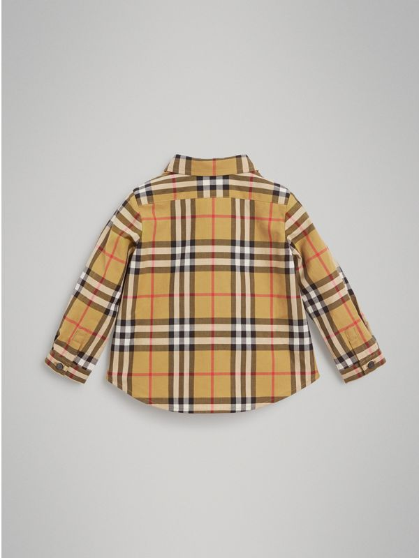 Button-down Collar Vintage Check Cotton Shirt in Antique Yellow - Children | Burberry Hong Kong - cell image 3