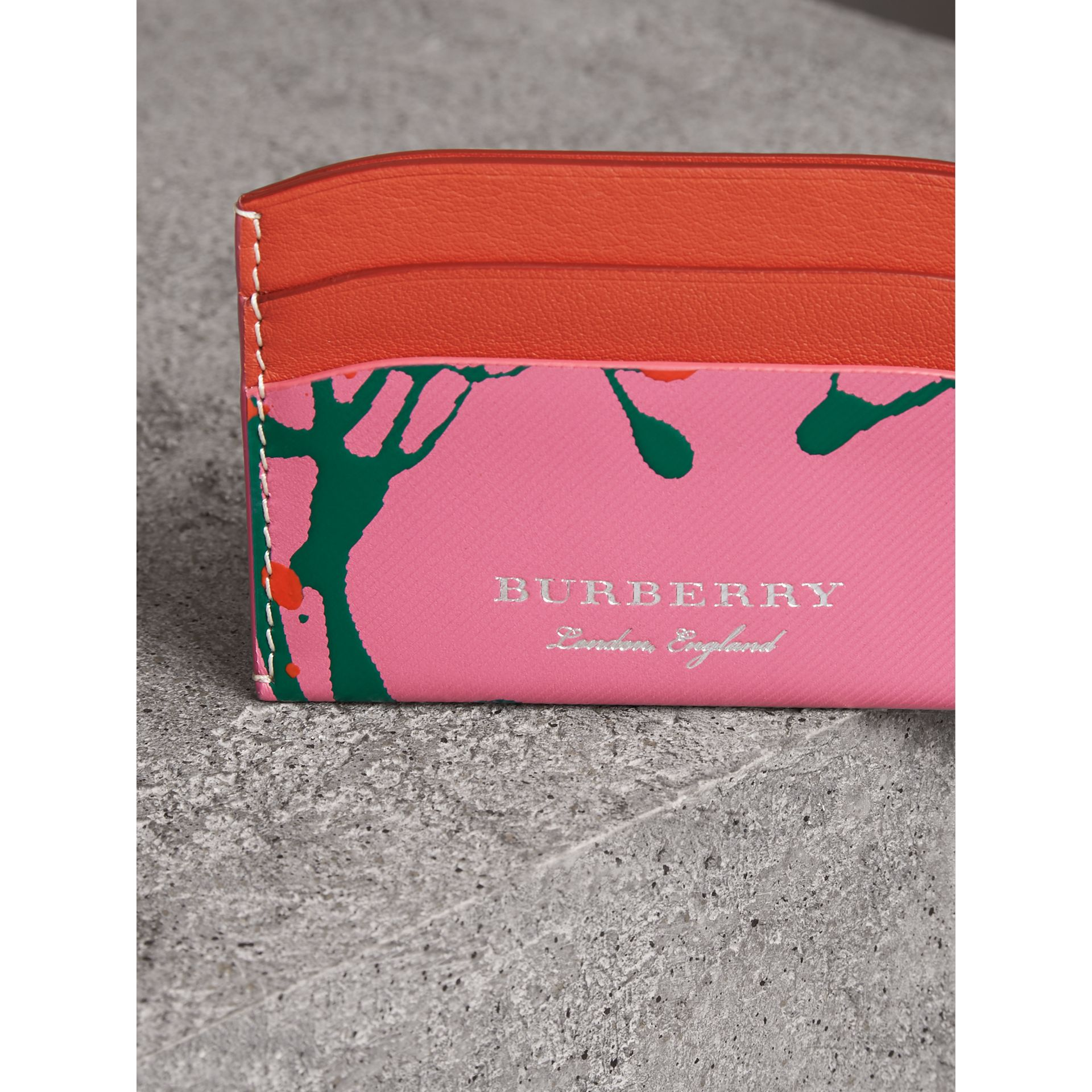 Splash Trench Leather Card Case in Rose Pink/orange Red | Burberry - gallery image 1