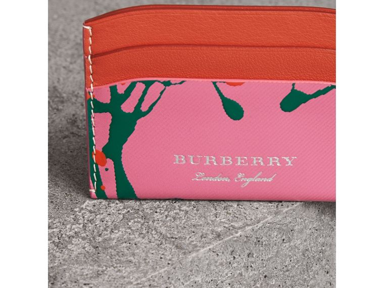 Splash Trench Leather Card Case in Rose Pink/orange Red | Burberry - cell image 1