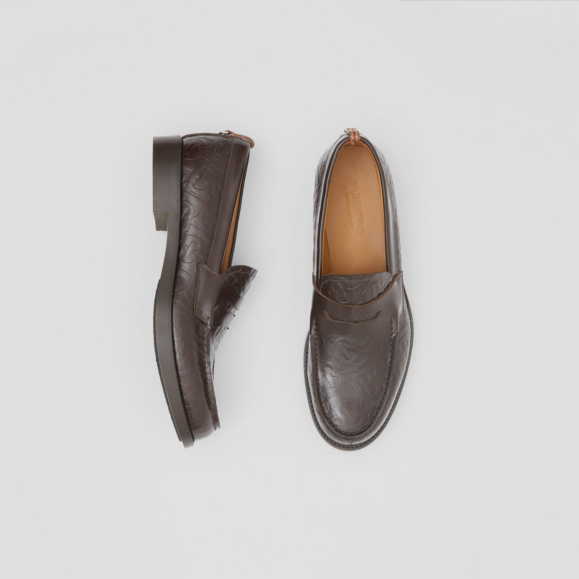 D-ring Detail Monogram Leather Loafers in Chocolate - Men | Burberry Canada - gallery image 0