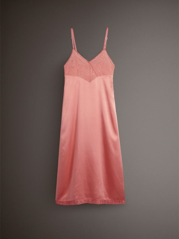 Chantilly Lace Trim Silk Slip Dress in Coral Red - Women | Burberry United States - cell image 3