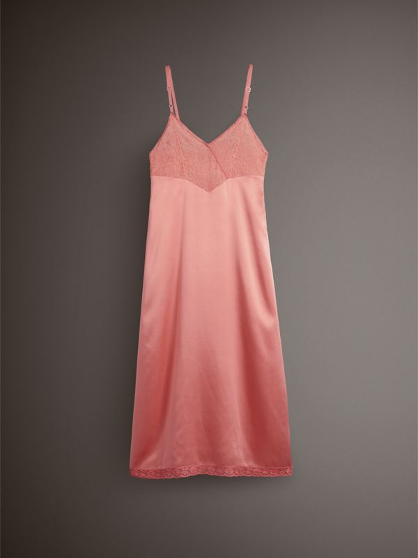 Chantilly Lace Trim Silk Slip Dress in Coral Red - Women | Burberry - cell image 3