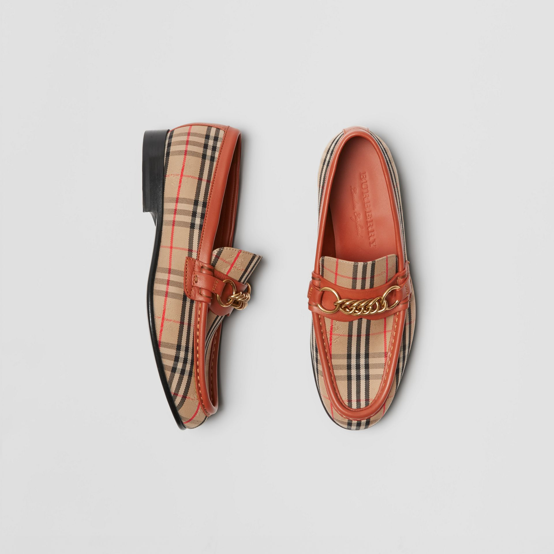 The 1983 Check Link Loafer in Brick Red - Women | Burberry - gallery image 0