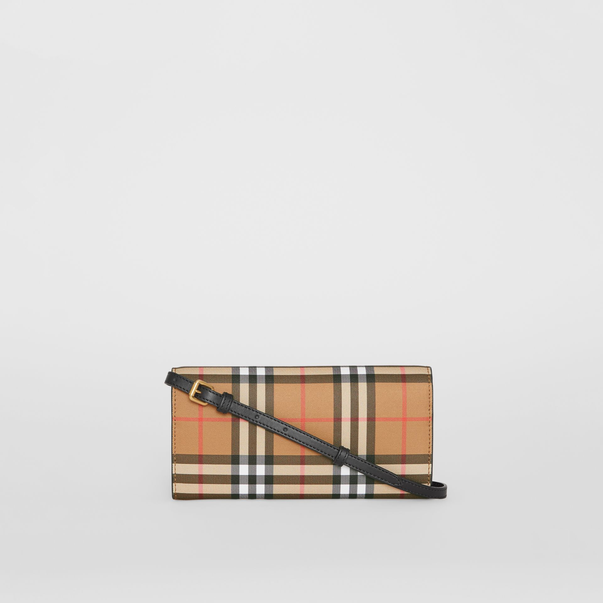 Detachable Strap Vintage Check Leather Wallet in Black - Women | Burberry - gallery image 7