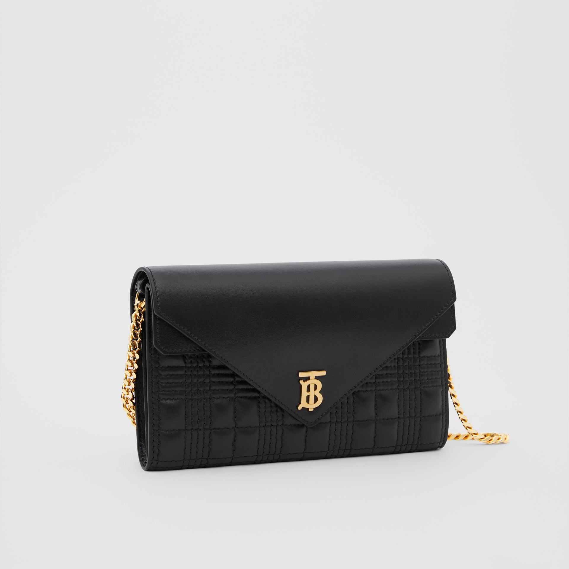 Quilted Lambskin Wallet with Detachable Chain Strap in Black - Women | Burberry United Kingdom - gallery image 6