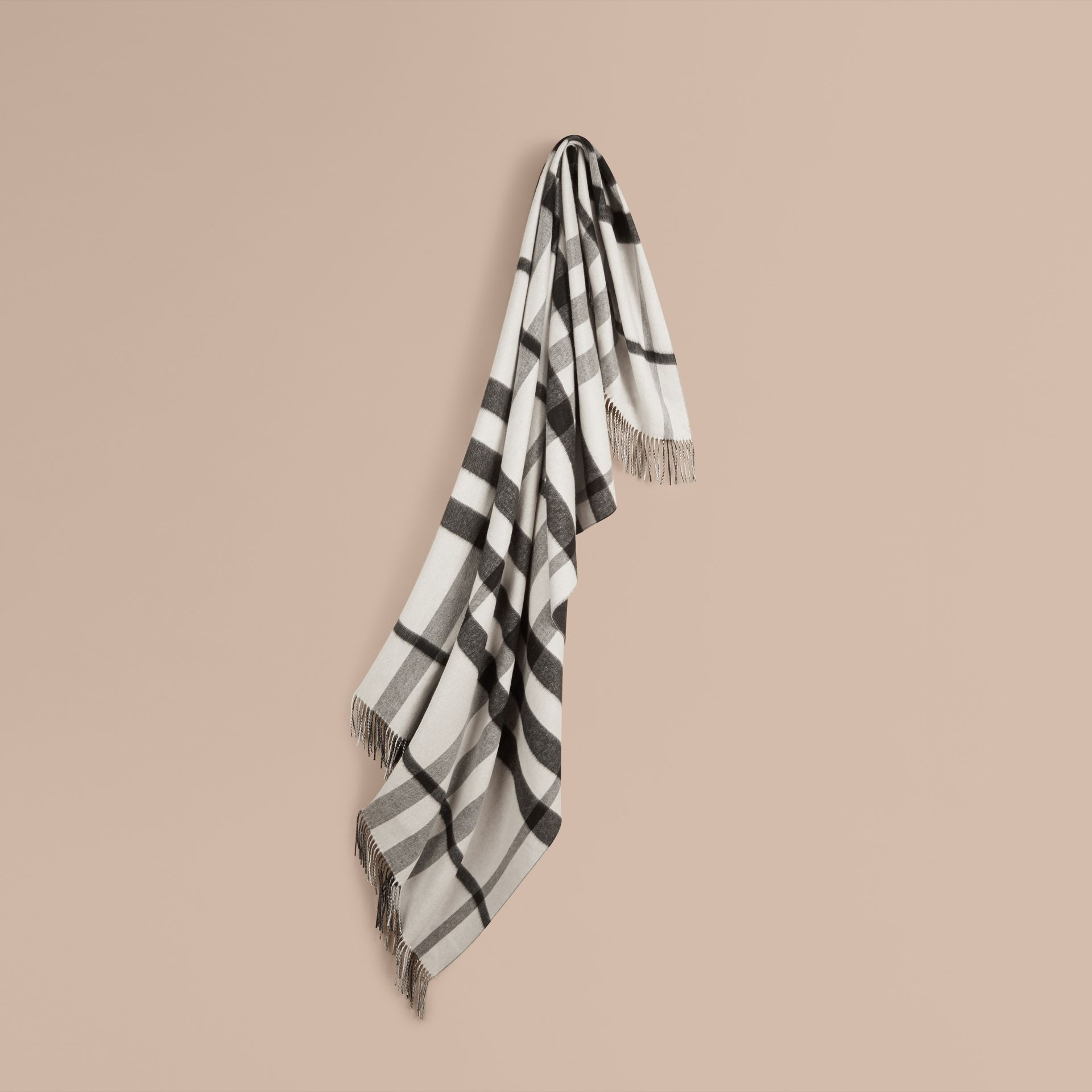 Black/white Check Merino Wool Cashmere Blanket - gallery image 1