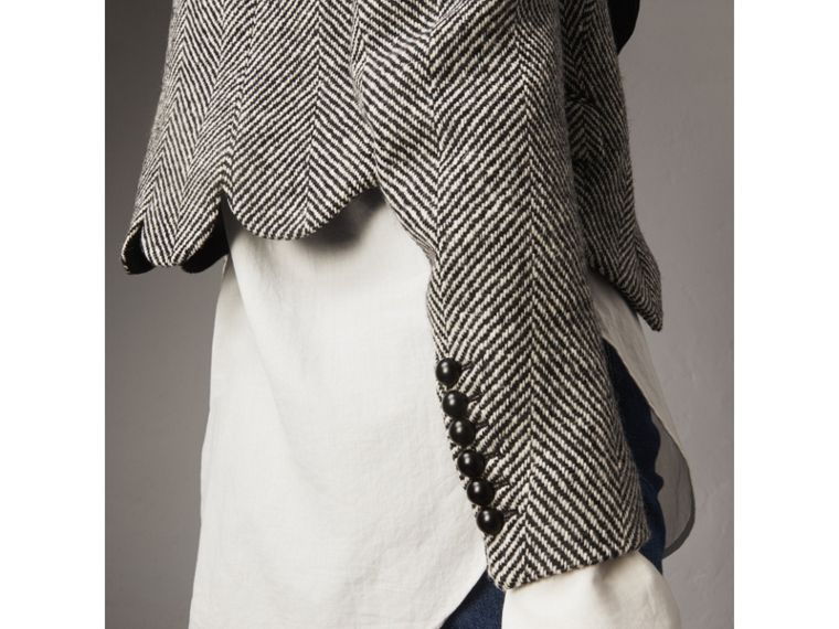 Ruffle Collar Donegal Herringbone Wool Jacket - Women | Burberry - cell image 4