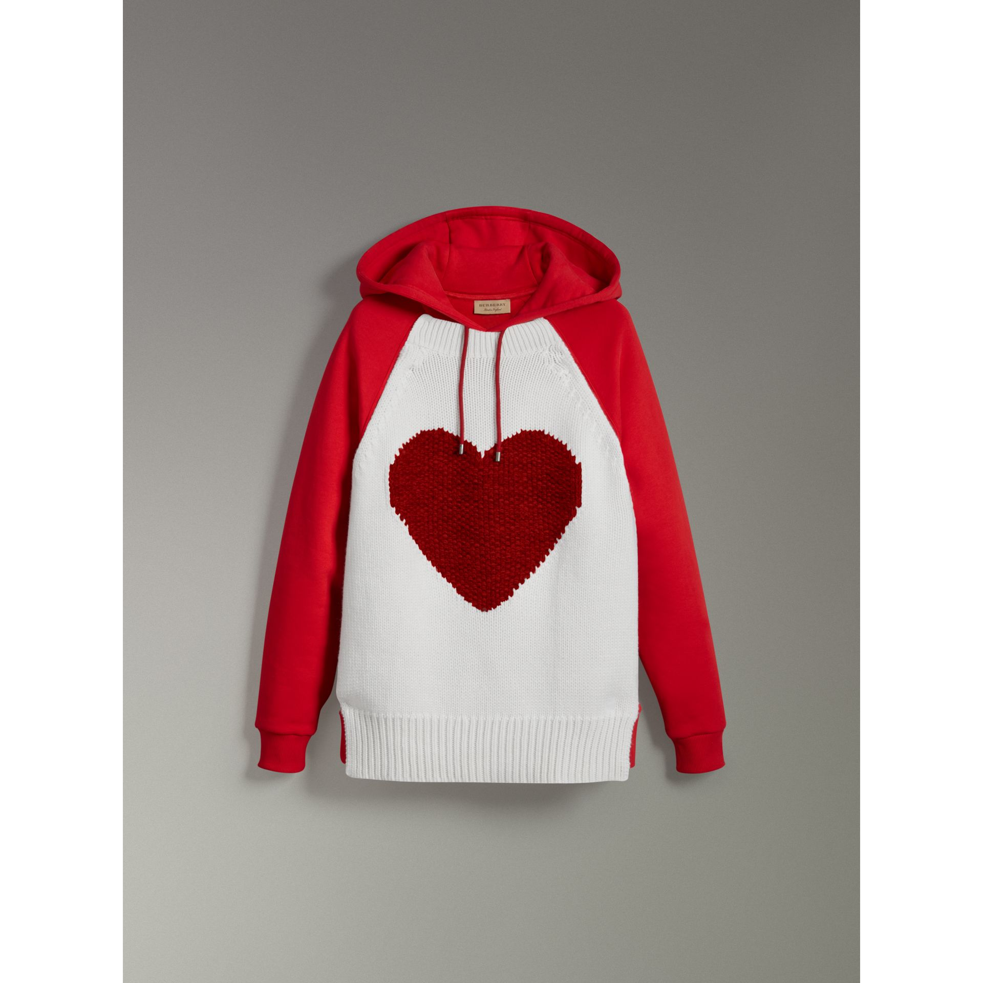Heart Intarsia Cotton Blend Hoodie in Bright Red - Women | Burberry - gallery image 3