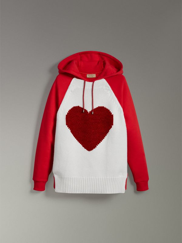 Heart Intarsia Cotton Blend Hoodie in Bright Red - Women | Burberry Australia - cell image 3