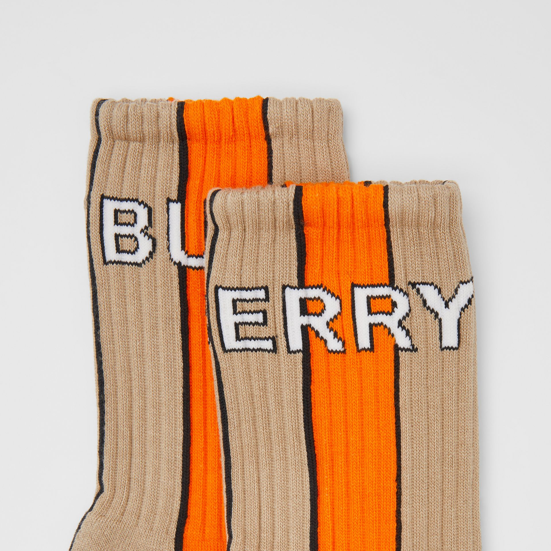Logo Intarsia Striped Cotton Blend Socks in Soft Fawn | Burberry - gallery image 1