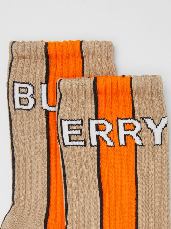 Logo Intarsia Striped Cotton Blend Socks in Soft Fawn | Burberry - cell image 1