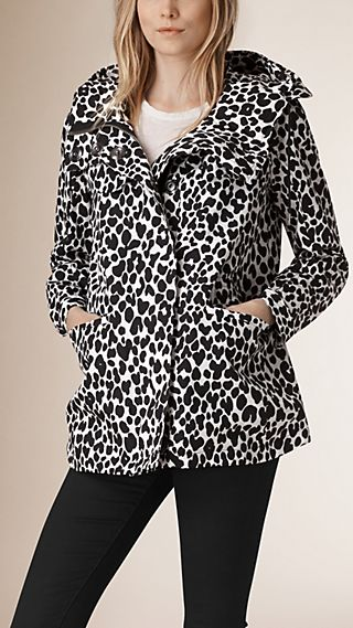 Animal Print Cotton Silk Parka