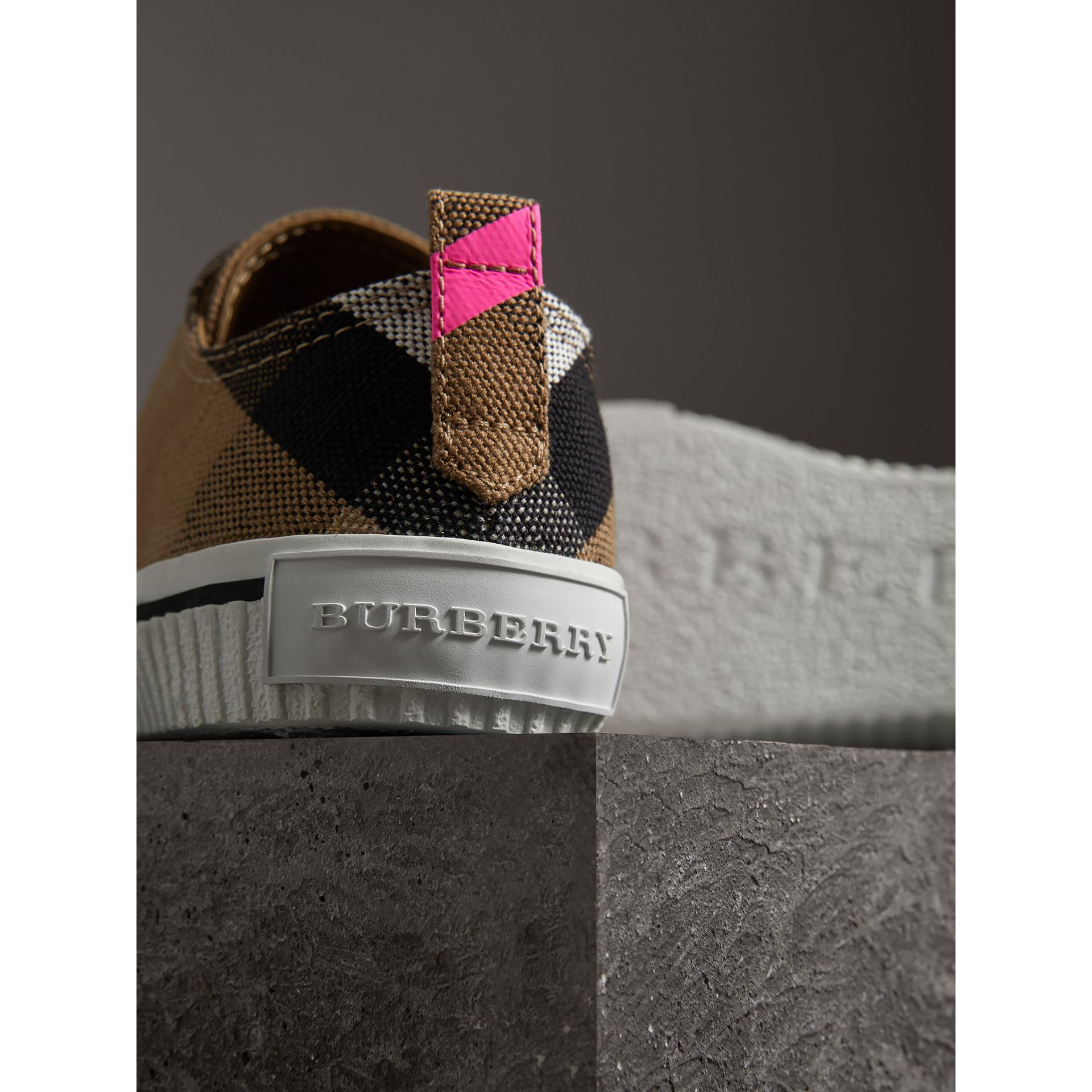 Canvas Check and Leather Sneakers in Classic/neon Pink - Women | Burberry Singapore - gallery image 1