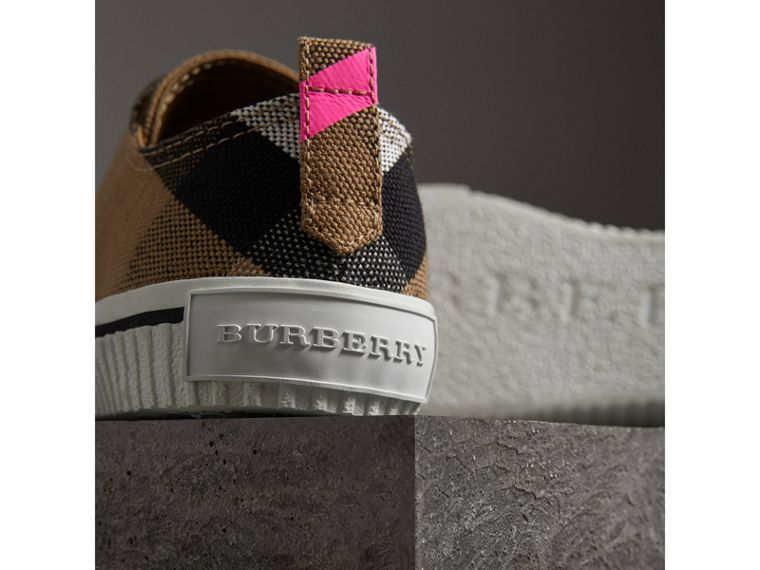 Canvas Check and Leather Sneakers in Classic/neon Pink - Women | Burberry - cell image 1