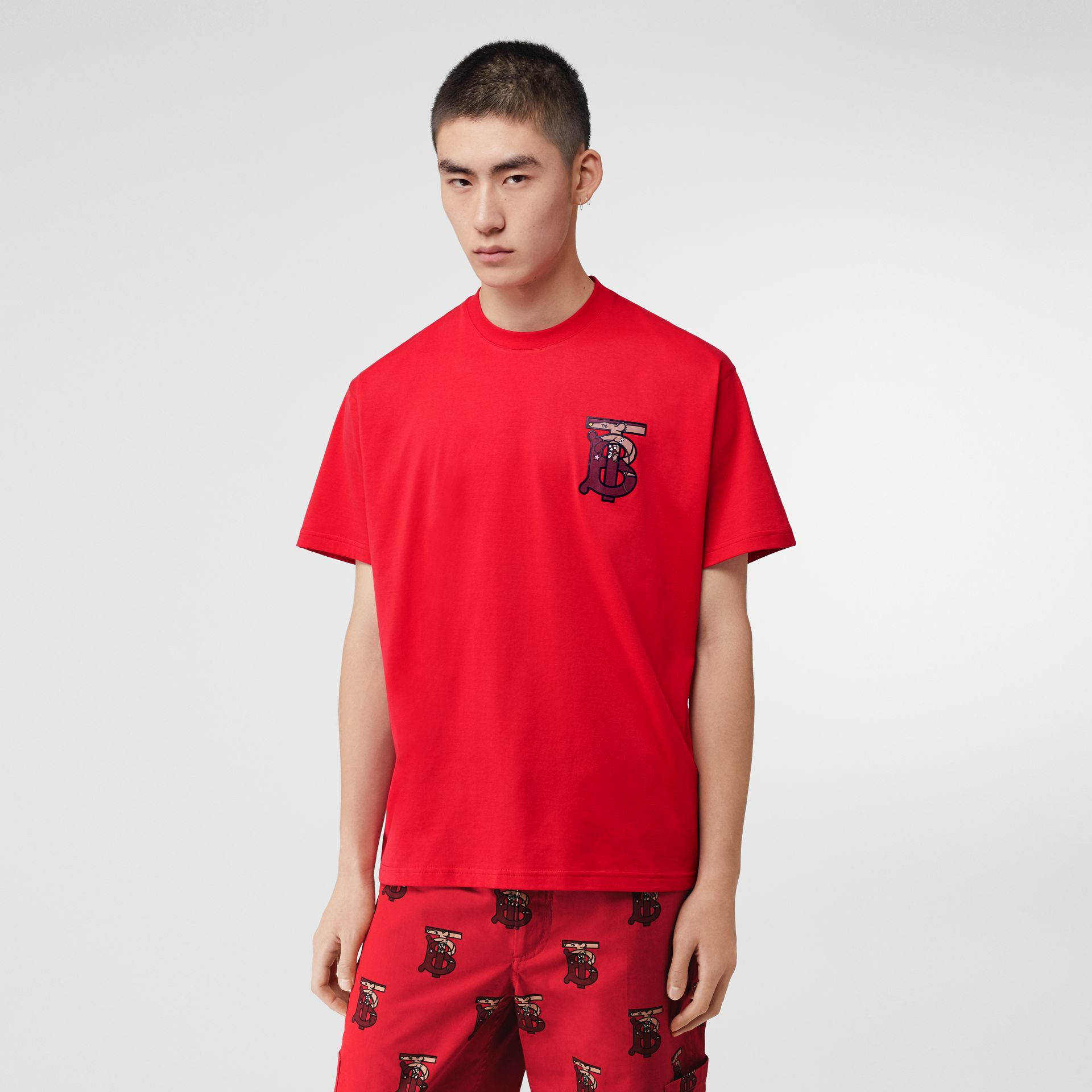 Monogram Motif Cotton Oversized T-shirt in Racing Red - Men | Burberry United Kingdom - gallery image 4